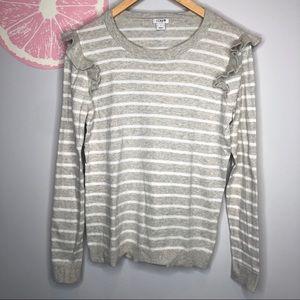 Jcrew oatmeal white stripe ruffle shoulder sweater